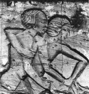 birkózók, dombormű töredék, Medinet Habuból. Chicago, Oriental Institute